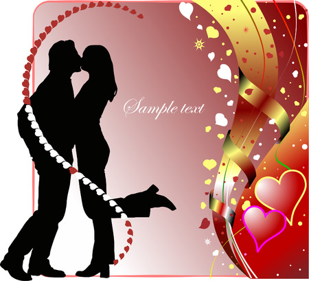 Valentine`s Day  Greeting Card with kiss. Vector illustration Vector