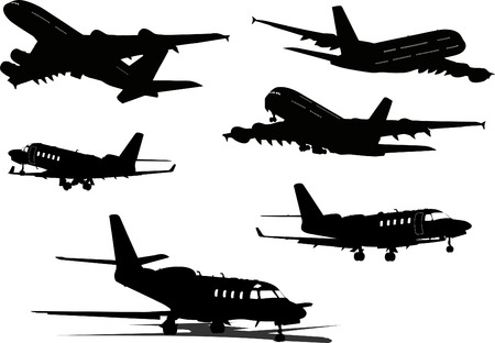 airplane mode: Airplane silhouettes. Vector illustration for designers