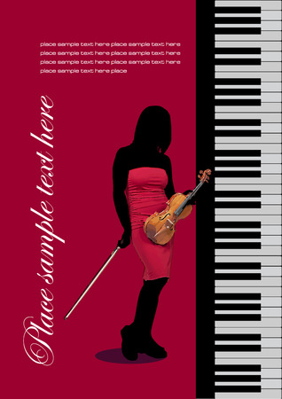 octave: Piano with violin. Vector colored illustration. Cover for book Illustration