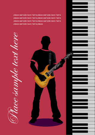Piano with guitar. Vector illustration Stock Vector - 4352071