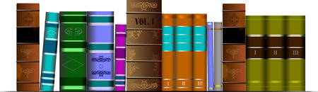 thesaurus: Vector illustration bookshelf library with old books