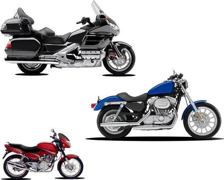 Three vector illustrations of motorcycle Illustration