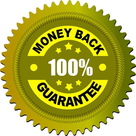 money back: Label money back guarantee. Vector illustration