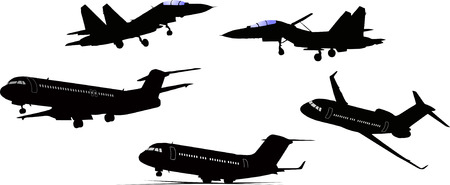 approaching: Five black and white Airplane silhouettes. Vector illustration