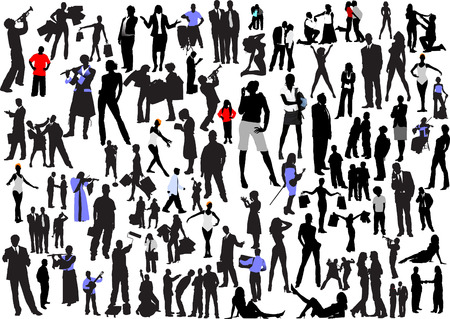 100 people silhouettes. Vector Illustration