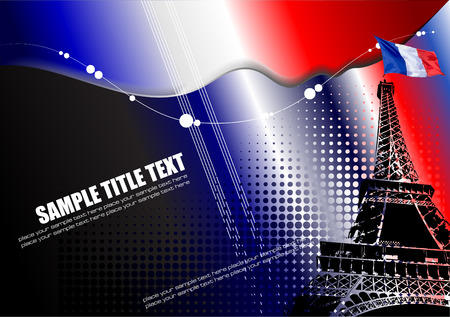Cover for brochure with Paris image and France flag Illustration
