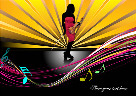 Cover for brochure with violin. Vector colored illustration Stock Vector - 4352111