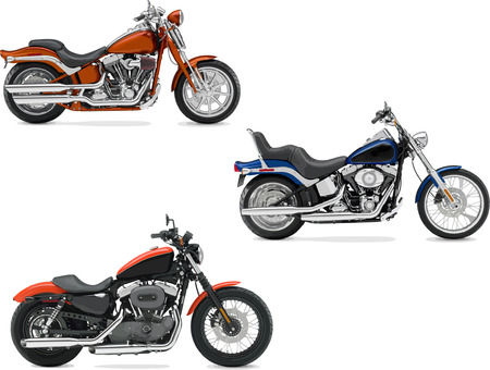 motorbikes: Three vector illustrations of motorcycle. Vector