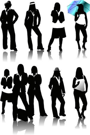 Nine women silhouettes. Vector illustration Stock Vector - 4352066