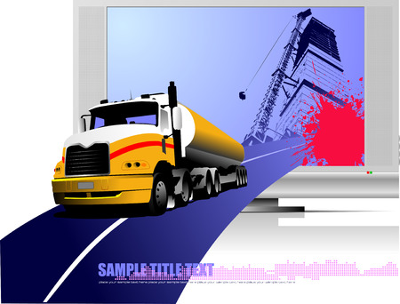 Abstract composition with lorry, road and TV . Vector illustration Vector