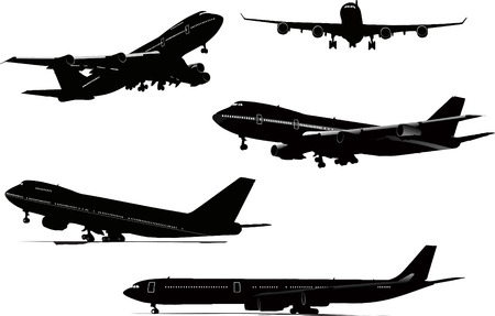 Five black and white Airplane silhouettes. Vector illustration Vector