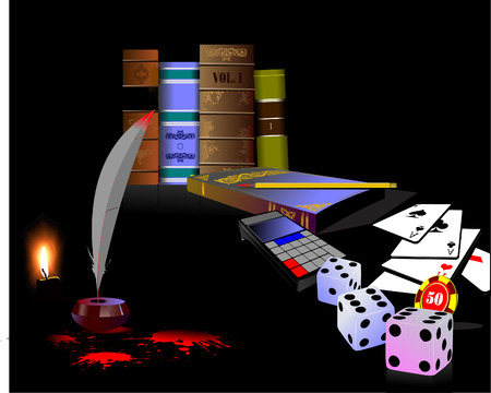 Ink pot, feather and blots with bookshelf and playing cards. Vector Vector