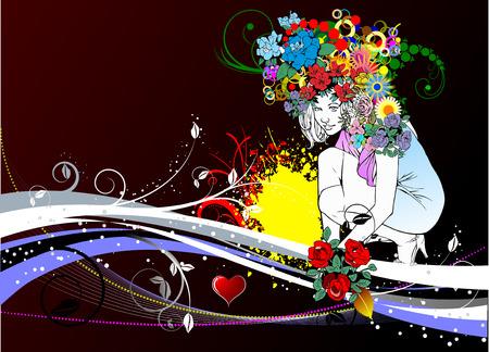 Floral woman silhouette. Vector illustartion Stock Vector - 4422063