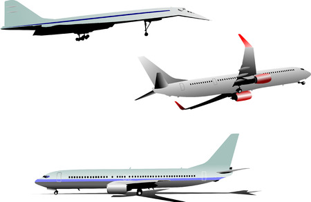 boeing: Three Airplane silhouettes. Vector illustration
