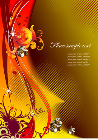 autumnally: Floral greeting card or invitation, vector illustration