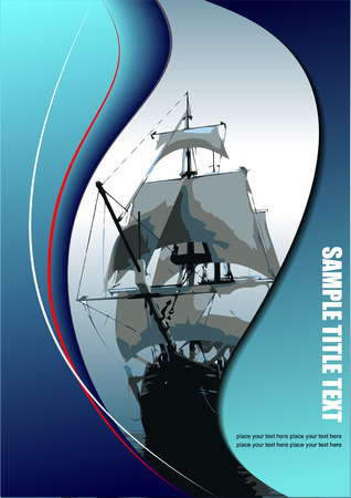 brigantine: Cover for brochure with old sailing vessel. Vector