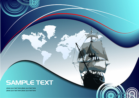 Cover for brochure with old sailing vessel. Vector