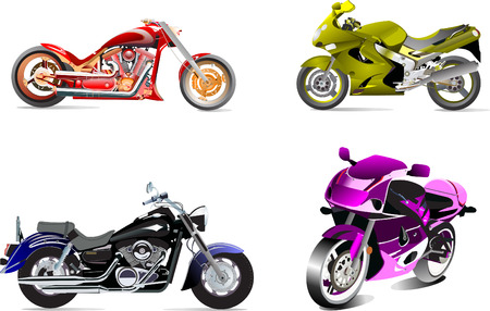 Four vector illustrations of motorcycle