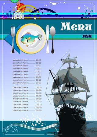 serviette: Fish Restaurant (cafe) menu. Vector illustartion