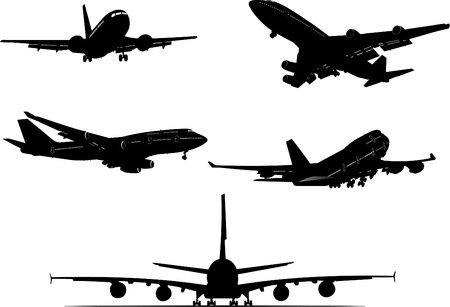 runway: Five  Airplane silhouettes. Vector illustration