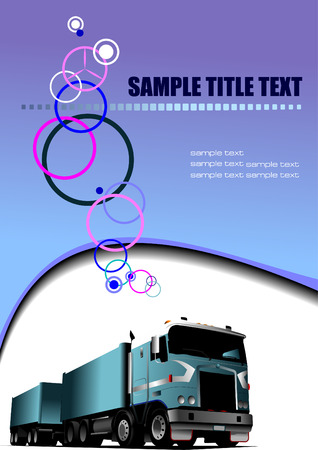 waved: Abstract colored waved background with lorry. Vector