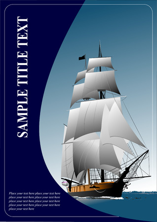 Cover for brochure with old sailing vessel. Vector illustration
