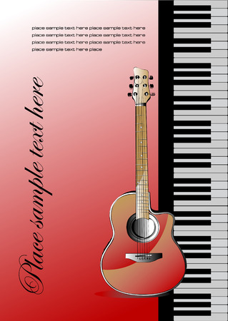 note book: Piano with guitar. Cover for note book or brochure. Vector