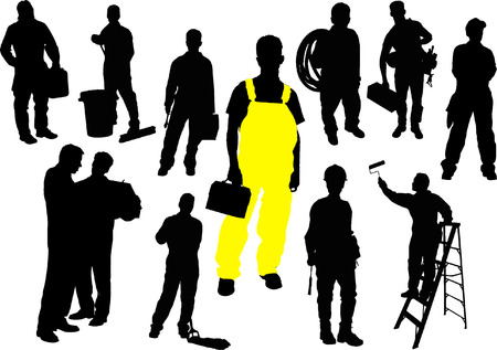 Twelve  people silhouettes. Workers. Vector illustration Stock Vector - 4560079