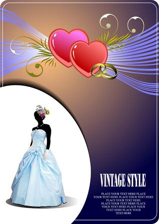 Wedding invitation with bride image. Vector Vector