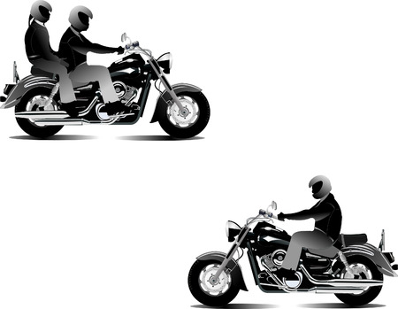 speed ride: Three bikers. Vector illustration