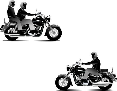 casco moto: Tres ciclistas. Ilustraci�n vectorial