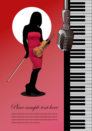 Piano with violin and microphone. Vector colored illustration. Cover for notebook Stock Vector - 4560092