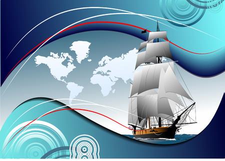 sailing vessel: Folleto para cubrir con el viejo buque de vela. Ilustraci�n vectorial