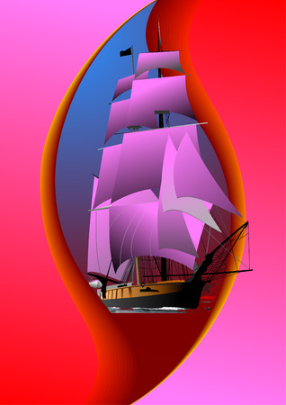 tallship: Cover for brochure with old sailing vessel. Vector