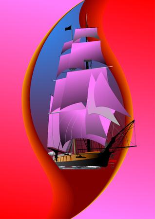 sailing vessel: Folleto para cubrir con el viejo buque de vela. Vector