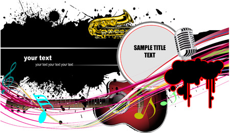 vector images: Abstract composition with music images. Vector colored illustration