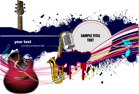 Abstract composition with music images. Vector colored illustration Stock Vector - 4560113