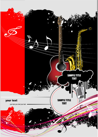 Cover for brochure with music images. Vector colored illustration Vector