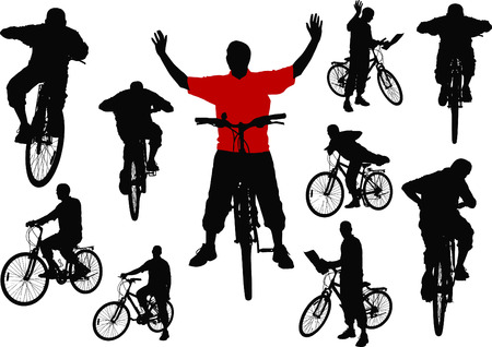 Ten men with bicycle. Vector illustration Stock Vector - 4704820