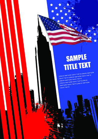 Cover for brochure with USA image and American flag Vector