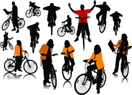 fourteen: Fourteen  people silhouettes with bicycle. Vector illustration