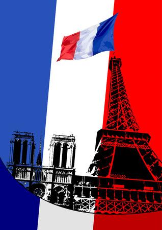 flag france: Couverture pour la brochure avec l'image de Paris et de France flag