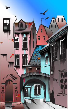 Medieval European city. Collective appearance on the basis of many European capitals
