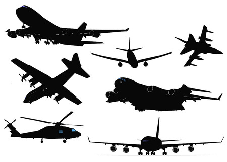 Seven black and white Airplane silhouettes. Vector illustration Vector