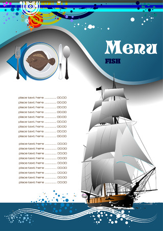 Fish Restaurant (cafe) menu. Vector illustration Illustration