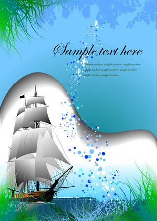 autumnally: Blue marine background. Vector illustration