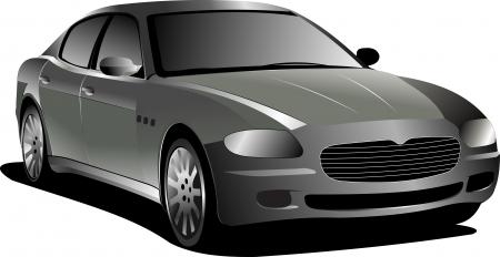 headlights: Gray  car. Sedan. Vector illustration