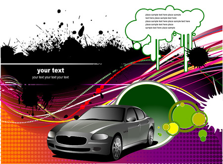 waive: Cover for brochure with car images. Vector illustration Illustration