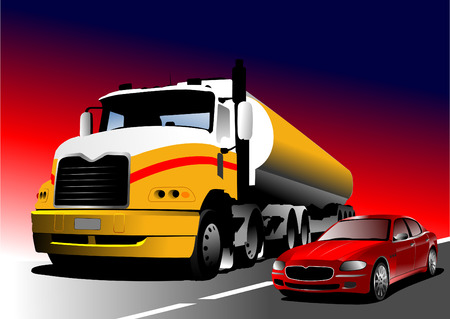 Car and truck on the road. Vector illustration Stock Vector - 4704817