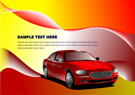 Futuristic display background with car image. Vector Vector
